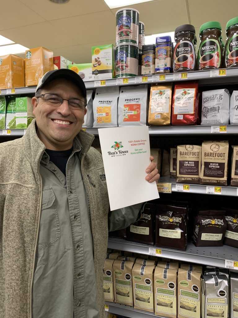 Owner Juan pictured in the coffee aisle of his store.