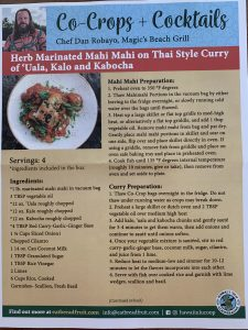 Recipe mahi mahi on Thai red curry of 'uala, kalo, and pala'ai